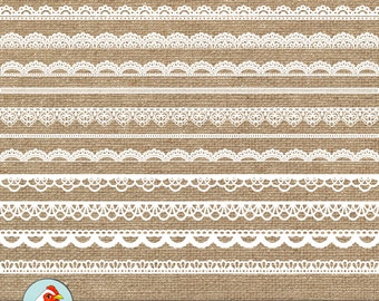 Digital Lace Borders - 18 white lace digital borders, photography overlay shabby chic wedding clip art, printable Instant Download 5014