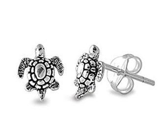 Sterling Silver Small Tiny Fancy Turtle Stud Post Earrings, Sea Turtle Earrings, Beach Wedding Earrings, Turtle Earrings, Beach Jewelry
