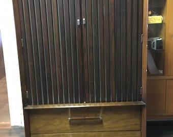 Lane walnut & Rosewood tall dresser Eames era mid century modern