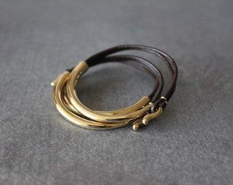 Deep Gold Plated Leather Bracelet (Set of 3, DARK BROWN)