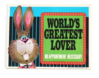 """Vintage 1960's Kitschy Sign """"World's Greatest Lover- No Appointment Necessary"""" by Roth Plaques 1969"""