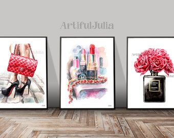 Fashion art print of my original watercolor painting, Chanel poster