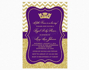 Prince Baby Shower Invitation, Purple Gold Baby Shower Invitation, Little Prince, Gold Glitter, Personalized, Printable and Printed