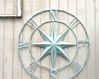 "26"" Nautical Compass Wall Art, Nautical Decor, Nautical Wall Art, Nautical Decor, Metal Compass Decor, Metal Wall Compass, Nautical Wall Art"