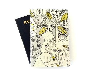 Cute passport holder, Kids passport cover for 2 passports, Child traveler gifts, Bear, Woodland