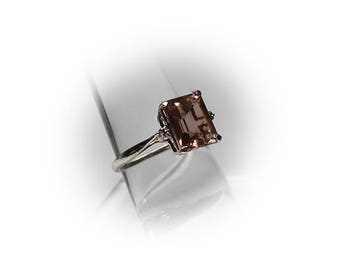 Sterling Silver 3.5 Carat Emerald Cut Violet Spinel Solitaire Ring
