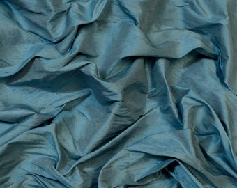 "Iridescent Light Blue Dupioni Silk, 100% Silk Fabric, 54"" Wide, By The Yard (S-263)"