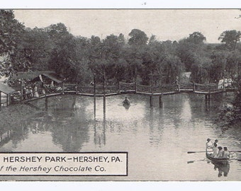 Hershey Park Hershey Pennsylvania Small Antique Vintage Photograph Postcard 1913 Stamp Panama Pac Expo LA Cancel