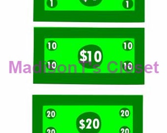 Money Cash Dollar Bills One Ten Twenty SVG Cutting Digital File Only