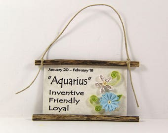 Paper Quilled Zodiac Magnet - Flattery for Aquarius, born January 20 to February 18, Birthday Gift, Zodiac Ornament, Astrology Sign Decor