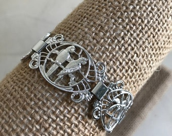 Vintage Silver Beach Tropical Nautical Panel Link Bracelet  Made in Germany