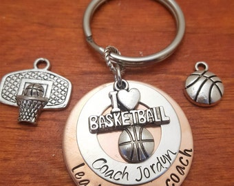 Hand Stamped Personalized Basketball Coach  key chain, lead inspire coach, Coach's gift, Coach's key chain, sports gift, coach thank you