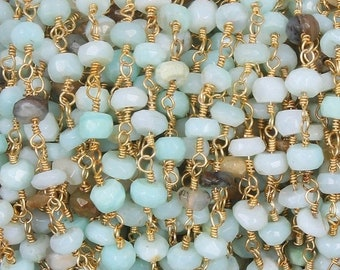 Memorial Day 5 Foot  Peru opal  Ronelle Rosary Style Beaded Chain - Peru opal Beads wire wrapped 24k Gold Plated chain per foot BD158