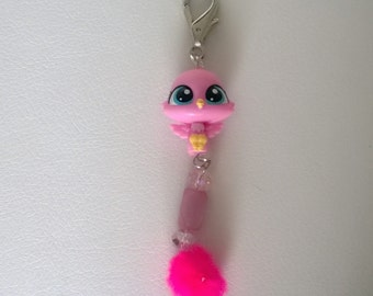 FrEE US SHIPPING Littlest Pet Shop Pink Bird with Pink Beads and Pom Pom Keychain Bag Purse Charm LPS Kawaii Cute Girl Teen Ooak Gift