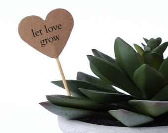 24 Let Love Grow tags, Favor Plant Sticks, Wedding Favor Tags, Succulent Toppers, Plant Favor Tags