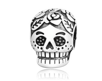 925 Sterling Silver Authentic 100% Charms,Sterling Silver Beads,Fit Pandora Bracelet,Pendant,Skull Charm,Gothic Charm,Mystic Charm For Gift