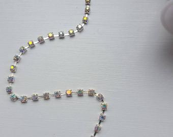 AB Rhinestone cupchain ss16 silver setting, rhinestone cup chain, 4mm rhinestone, rhinestone by the yard, rhinestone spool,diy rhinestone