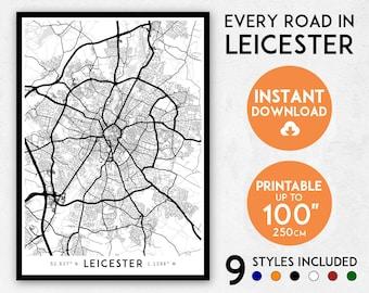 Leicester map print, Leicester print, Leicester city map, Leicester poster, Leicester wall art, Map of Leicester, Leicester art print