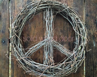"""18"""" Spring Easter Peace Sign Wreath, Christmas Wreath, Holiday All Year Grapevine Wreath, Peace Grapevine Wreath, Summer Wreath, Christmas"""
