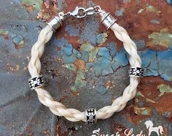 Horse Hair Bracelet with Sterling Silver Beads - Horsehair Bracelet