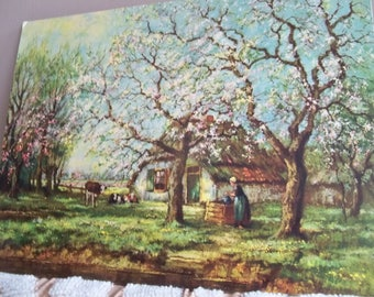 wonderful farm scene home lithograph