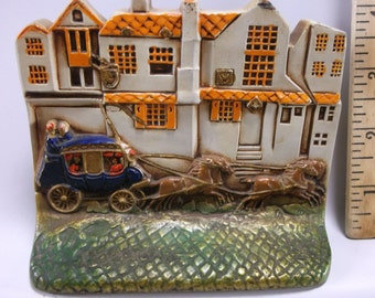 Antique Stagecoach Street Scene By Tavern Polychrome Cast Iron Bookends C 1934 Mint Condition.epsteam