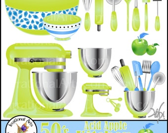 50's Acid Apple set 1 Kitchen Periwinkle INSTANT DOWNLOAD Digital Clipart Graphics 16 baking supplies whisk rolling pin bowls spatula peeler