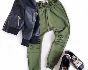 Harem Slim Leg Joggers OLIVE Lined Distressed Sweatpants Baby Harem Leggings Baby Toddler Bamboo Fleece Knit Army Green Moto Jogging Pant