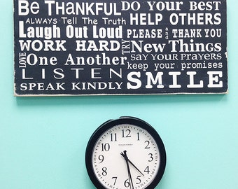 Family Rules Wooden Sign - Be Thankful - Typography Word Art in Landscape