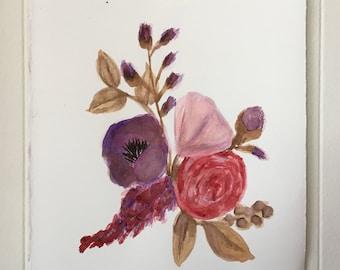 Floral Arrangement in Violet; Watercolor