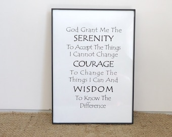 Serenity Prayer, 12 step recovery gift, AA, Al anon, sobriety, sponsor gift, ready to ship, wall art, framed print,