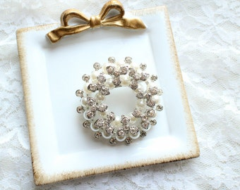Large Rhinestone Pearl Donut Brooch Silver Base with Pin M03-Wedding DIY Bouquet