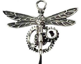 Steampunk Dragonfly Pendant Jewelry, Pewter Dragonfly Pendant, Dragonfly Necklace, Steampunk Dragonfly Necklace Amulet Jewelry