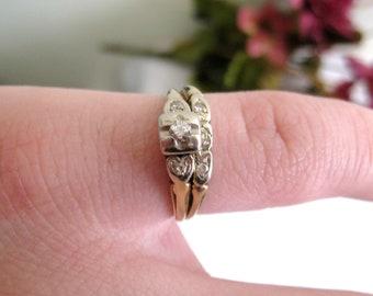 Petite Art Deco 14K Gold Diamond Wedding Ring Set, US Size 4 1/2, Yellow, White Gold, 6 Diamonds, Signed F.R.CO., Very Worn