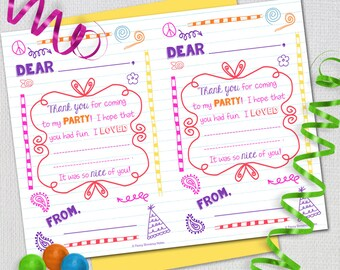Fill In The Blank Thank you note, Colorful Doodles / INSTANT DOWNLOAD / PRINTABLE  72513