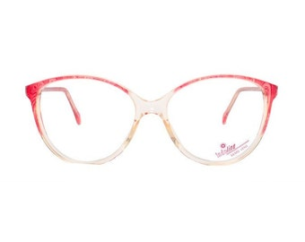transparent cateye eyeglasses - vintage pink eye glasses frames in 50s style rockabilly - mauve fifties cat eye glasses for women - unused