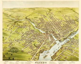 Vintage Map - Bangor, Maine 1875