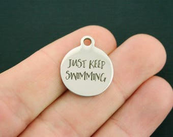Just Keep Swimming Stainless Steel Charms - Exclusive Line - Quantity Options - BFS1358