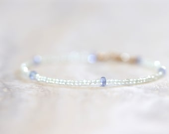tiny prehnite with tanzanite gemstone bracelet. pale green with periwinkle blue violet bracelet. thin delicate beaded bracelet.