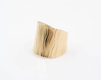14k Gold-Filled Cuff Ring -Reed Pattern - Adjustable