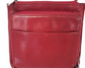 Arnold Churgin, Red Leather Purse, Vintage Purse, Ladies Leather Bag, Women's Purse, Great Compact Crossbody bag