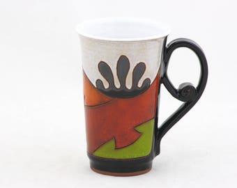 Ceramic Coffee Mug, Pottery Tea Cup, Handmade  Coffee Cup, Coffee & Tea party ,Gift for her, Artisan cup, Christmas gift