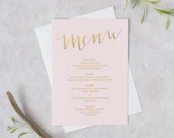 Printable Menu Blush Pink and Gold - Instant Download - Editable PDF - Blush Pink Menu - Wedding Menu - 5x7 and 4x6 sizes included - #GD1201