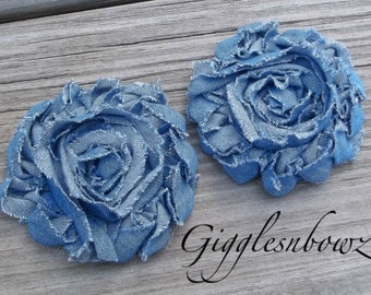 Set of TWO Shabby Frayed Vintage look Rosette Flowers- Shredded DENIM