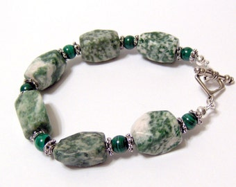 Green Tree Agate and Malachite Gemstone Nugget Chunky Bracelet Comes with FREE Sterling Silver Earrings