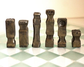 Hand Forged Chess Set in Brass and Blackened Steel