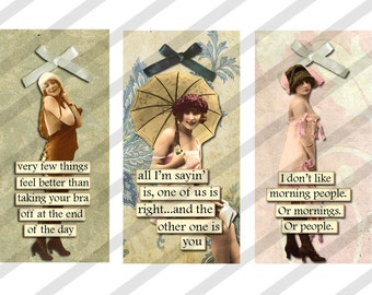 Digital Collage Sheet Slides Sarcastic  Women No. 2-1 X 2 Domino (Sheet no. FS196) Instant Download