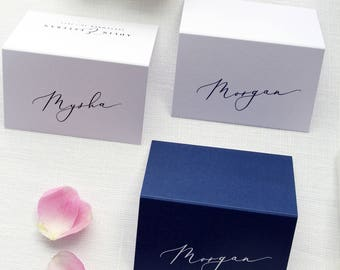 Adlin Place Cards, Printable Place Cards or Printed Place Cards Calligraphy Place card Tented Cards Name Tag, Navy Grey Place cards