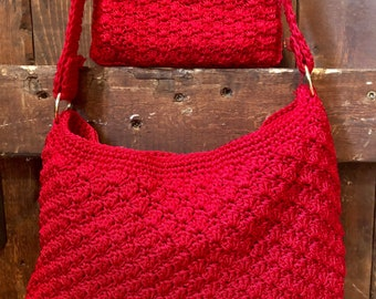 Red Crocheted Handbag and Coin Purse