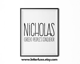 Nicholas Name Meaning Art - Printable Baby Shower Gift - Nursery Printable Art - Digital Print - Nursery Decor - Typography Wall Decor
